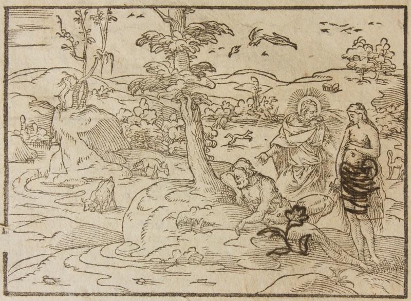 <p>Le paradis terrestre dans une Bible du XVII<sup>e</sup> siècle</p>